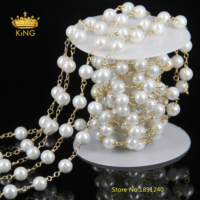5Meter Natural Simulated Glass Pearl Gold Chain Rhinestone Crystal Rosary Chain Necklace Bead Work Jewelry Size for Choice HS01