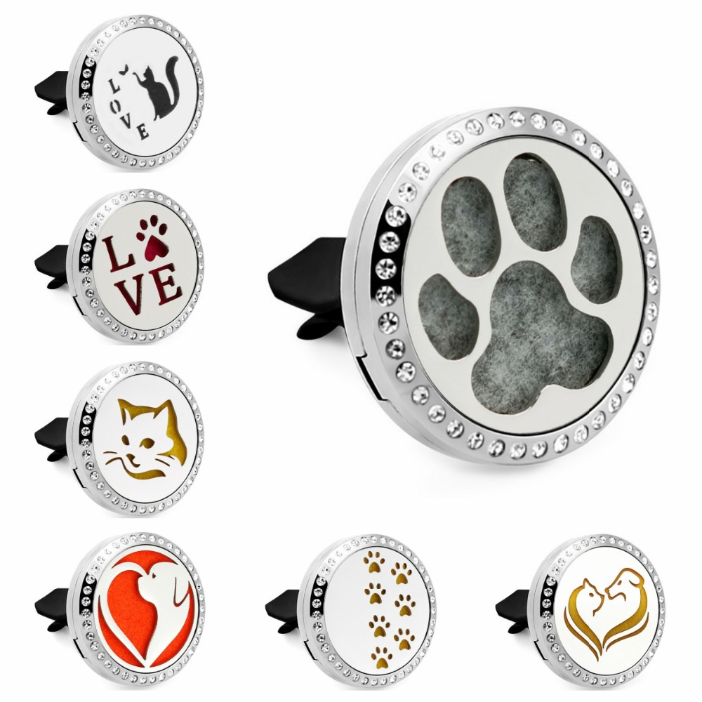 Hot Cat/Dog/paws/horse/Unicorn Bling 30mm Car Diffuser locket vent clips Essential Oil Aroma locket Magnetic 10Pads locket