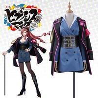 Game Japanese Voice Actor Division Rap Battle Kadenokoji Cosplay Costume Socks Bow Sexy V Neck Blue Dress Corset Jacket Girl