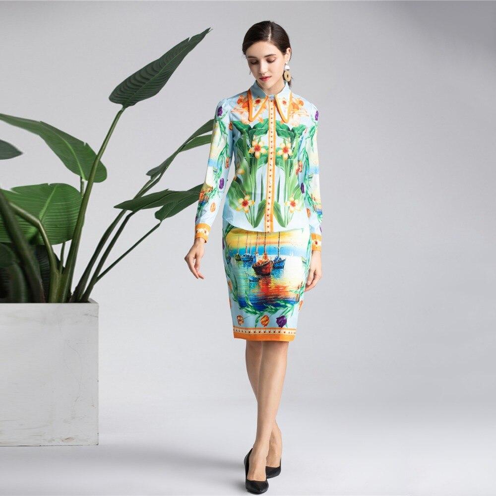 De Top Twinset Manches Jupe Occasionnel Truevoker Costume Designer Imprimé Longues À Printemps Ensemble Femmes Vêtements Blouse xI4TPHq