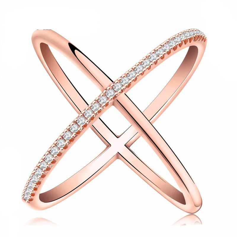 YOBEST New Big Cross Zircon Ring Fashion Female Jewelry Infinity Sign Women Rose Gold Rings for Party free Shipping