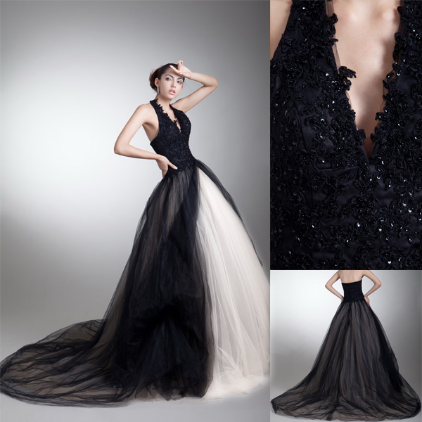 Ivory Black Tulle Lace Halter Top Wedding Dress-in Wedding