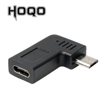 Left Angle Micro USB Male to Type C Female Adapter 90 Degree Microusb to USBC Female Converter Data Sync Charge For Samsung s10 стоимость