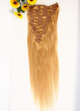 Virgin Remy Hair Clip In Human Hair Extensions 12pcs/set 20inch Full head Set 130g/set Clip on Human Hair Brow Blonde Color etc