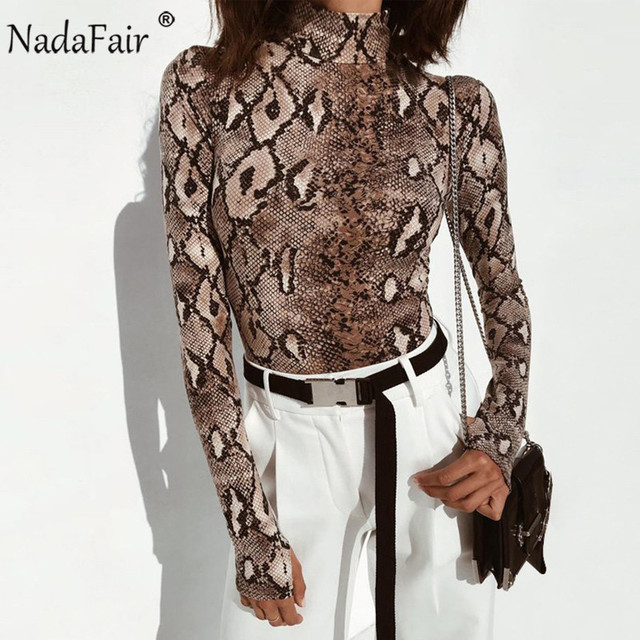 Nadafair Long Sleeve Snake Print Bodysuits Women Autumn Winter Animal Serpentine Turtleneck Skinny Bodycon Sexy Bodysuit Tops