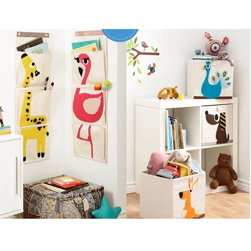BONAMIE Travel Bags Animal Pattern Door Wall Hanging Storage Bag Organizer Storage Pocket For Children Kids Toys Closet 3 Pocket