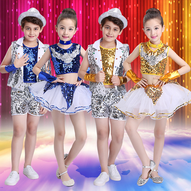 80a6225bde13 New Children Jazz Dance Costume for Show Kids Hip Hop Dance Costumes ...