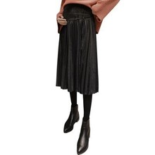 Юбка для беременных осень-зима Золотая Бархатная однотонная плиссированная юбка для беременных женщин модные большие размеры юбки для беременных Длинные