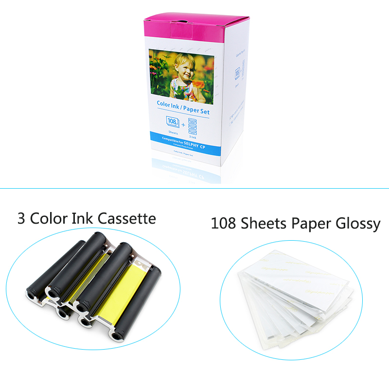1pcs Photo Paper Compatible Canon KP-108IN 3 Color Ink Cassette 108 Sheets 4 x 6 Paper Glossy For Canon SELPHY CP1300 CP1200 набор для компактного принтера canon картридж фотобумага kp 108in