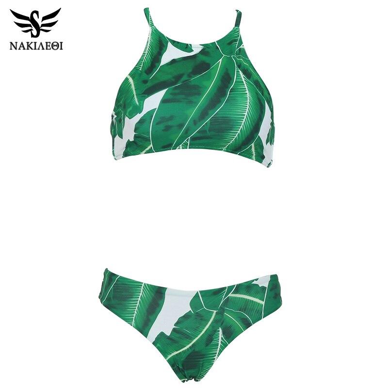 NAKIAEOI Sexy High Neck Bikini Swimwear Women Swimsuit 2019 Summer Brazilian Bikini Set Green Leaf Beach Wear Bathing Suits Swim 4