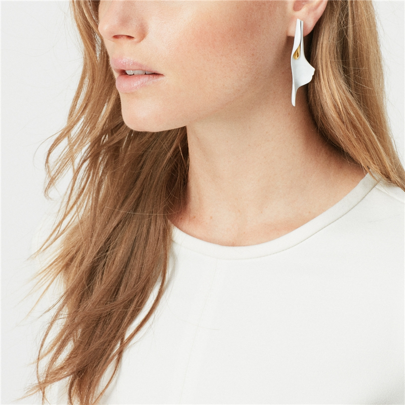 Image 3 - European and American niche design white enamel earrings female  exaggerated temperament personality retro cold wind FrenchDrop  Earrings