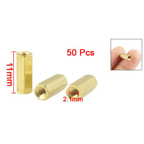 50 Pcs Hexagonal 11mm Length M3 Female Thread PCB Standoff Spacers