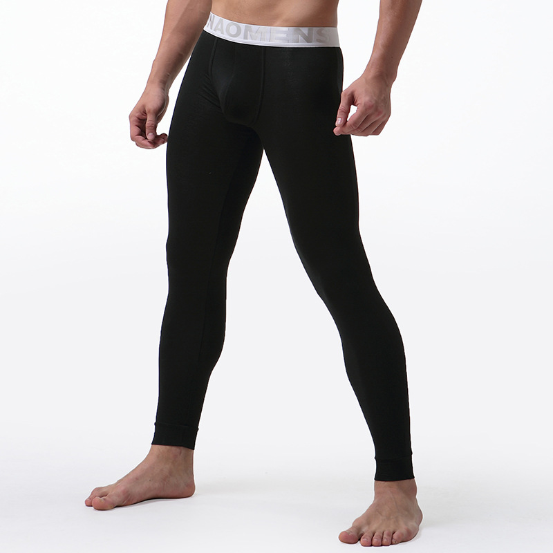 Mens Long Johns Underwear Solid Color Male Leggings Hombre Sexy Thermal Underpants Modal Elasticity Soft Termico Long Johns(China)
