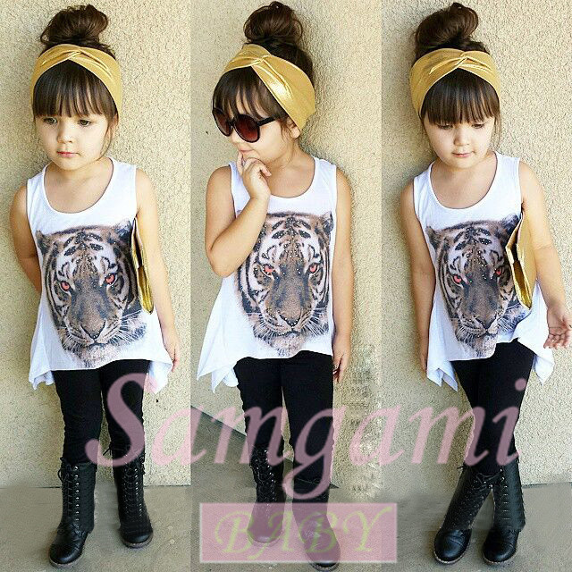 Tiger Design girls top fashion summer style girls sets cute Irregular  sleeveless white vest + pants kids set casual girl clothes 6bdcd1607
