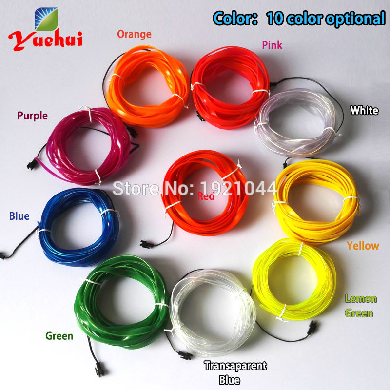 2.3mm-skirt EL Wire Flexible LED Neon Light Rope Tube 10 Color Choice Not Include EL Controller Car Internal Party Decoration