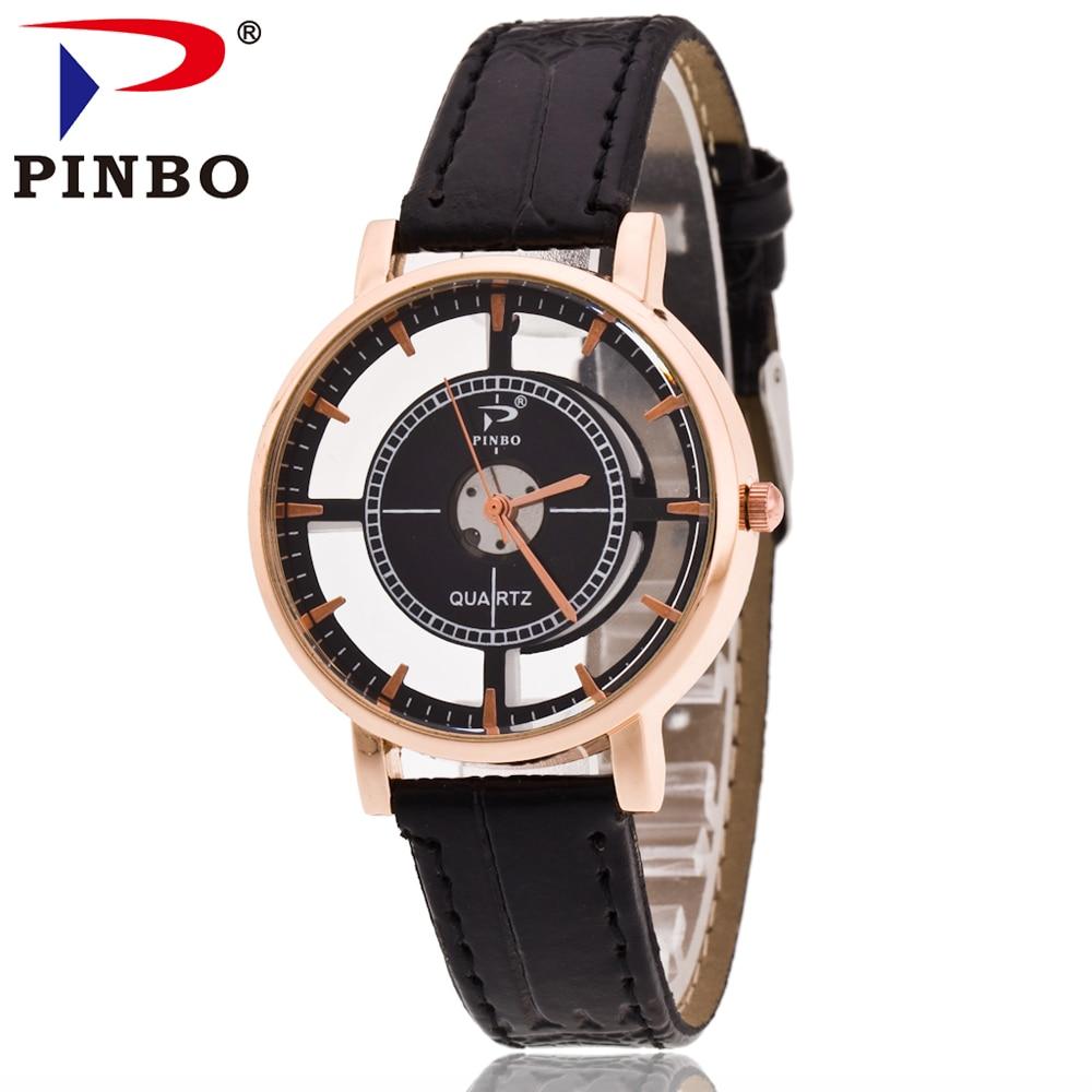 PINBO Leisure top zīmola luksusa Hollow Watch sieviešu mazais kvarca pulkstenis modes dāmām ādas aproces pulksteņi sievietēm Montre Femme