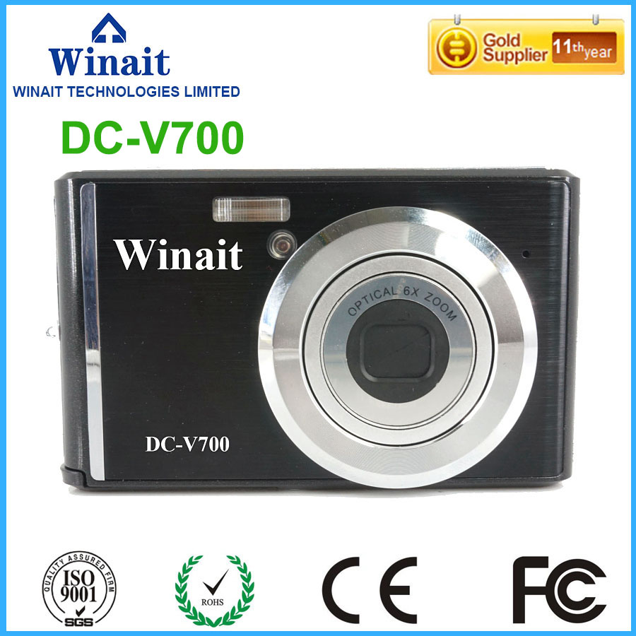 Max 18MP Mini Camera DC-V700 3x Optical Zoom 10s Self-Timer Lithium Battery Cameras Digital Camcorder With Face&Smile Detection