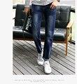 Classic Men's Denim Jeans Slim 501 Fit Stretch Regular Slim Feet Thin Skinny Jeans Pants in Wash Dark Blue for Man  xy20
