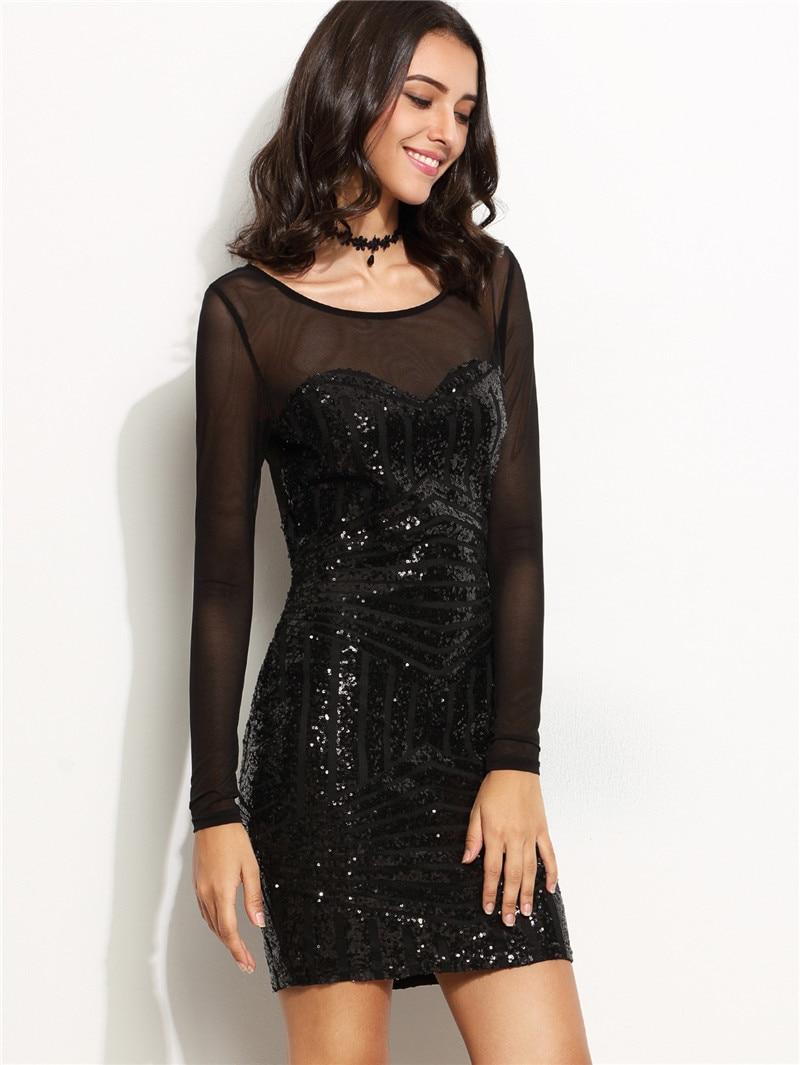 e596376c6de Long Sleeve Red Black Sequin Dress Short Sheer Mesh Patchwork Women