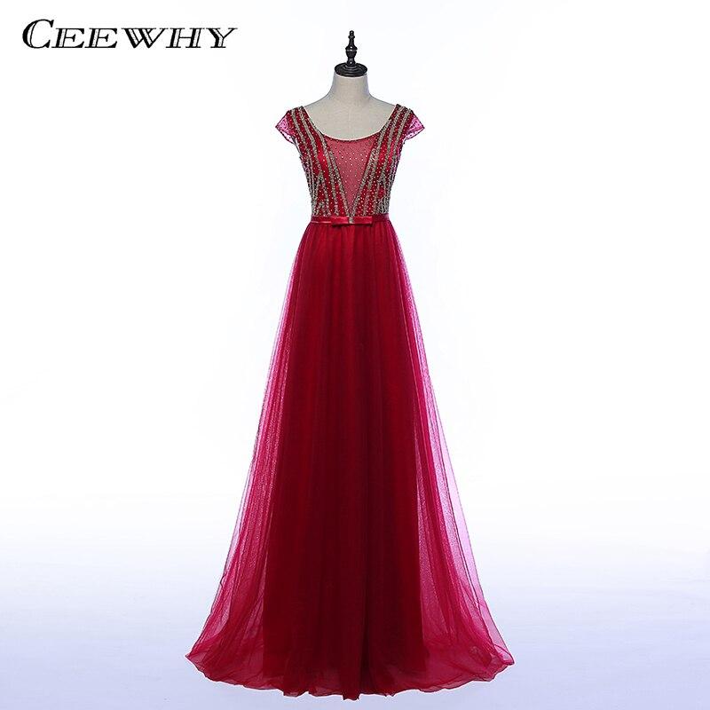 CEEWHY robe formelle longue Tulle robes De soirée cristaux perles robes De soirée bal robe De soirée Abendkleid Lang Vestido De Festa