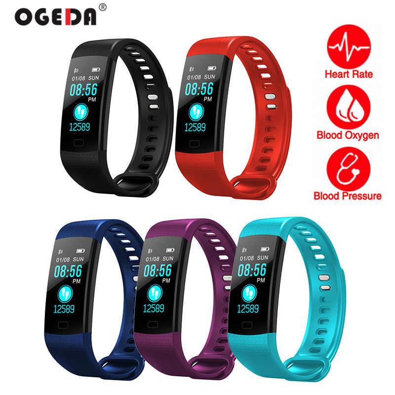 OGEDA 2019 Intelligente Braccialetto Bluetooth Frequenza Cardiaca attività inseguitore di fitness Misuratore di Pressione Sanguigna di Sport Della Fascia Wristband Per Le Donne Gli Uomini Reloj