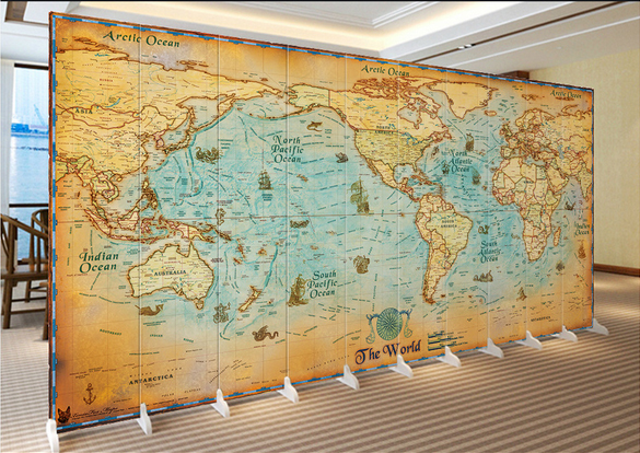 3d Photo Wallpaper Antique Sailing World Map Conference Room Sofa Tv
