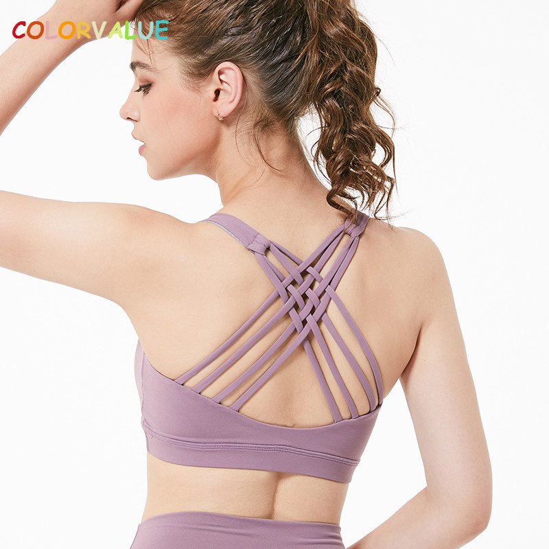 4728d545e859 Colorvalue Wireless Push Up Sport Bra Top Women Crisscross Straps Solid Yoga  Sports Bra Vest Padded Fitness Athletic Underwear