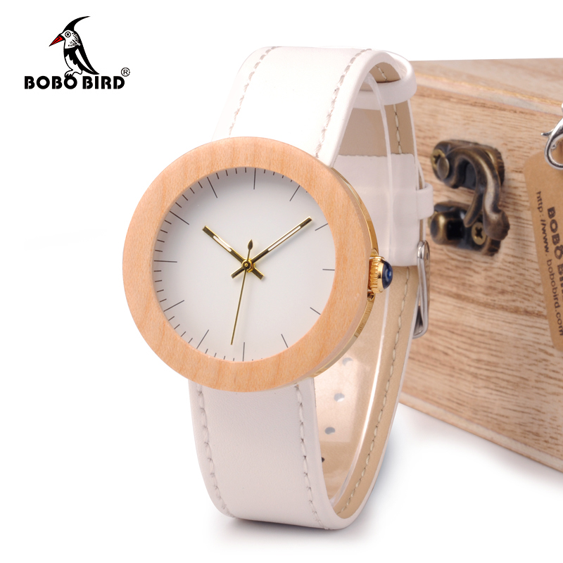 BOBO BIRD WJ28 Pine Wooden Steel Simple Dial Face Genuine Leather Band Quartz Watch With Wooden