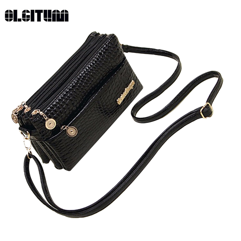 OLGITUM New 2017 Small Shoulder Bag Crocodile Pattern Bag Women Messenger Bags for Women Hot Sale Handbag New Clutch HB255 yuanyu 2018 new hot free shipping import crocodile women chain bag fashion leather single shoulder bag small dinner packages