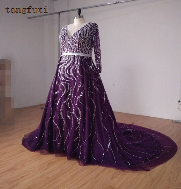 Purple Wedding Dresses With Sleeves Sequins Crystals Tulle V Neck Luxury Beaded Bridal Gowns Real Photos