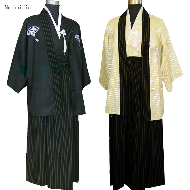 MeiHuiJie Japanese Warrior Traditional Kimono Man Black Bathrobe Cosplay Vintage Clothing Stage Performance Dress Japan Style