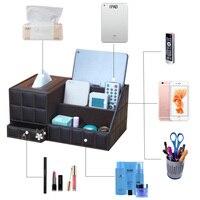 Leather multi function tissue box wooden living room coffee table desktop remote control storage box European creative