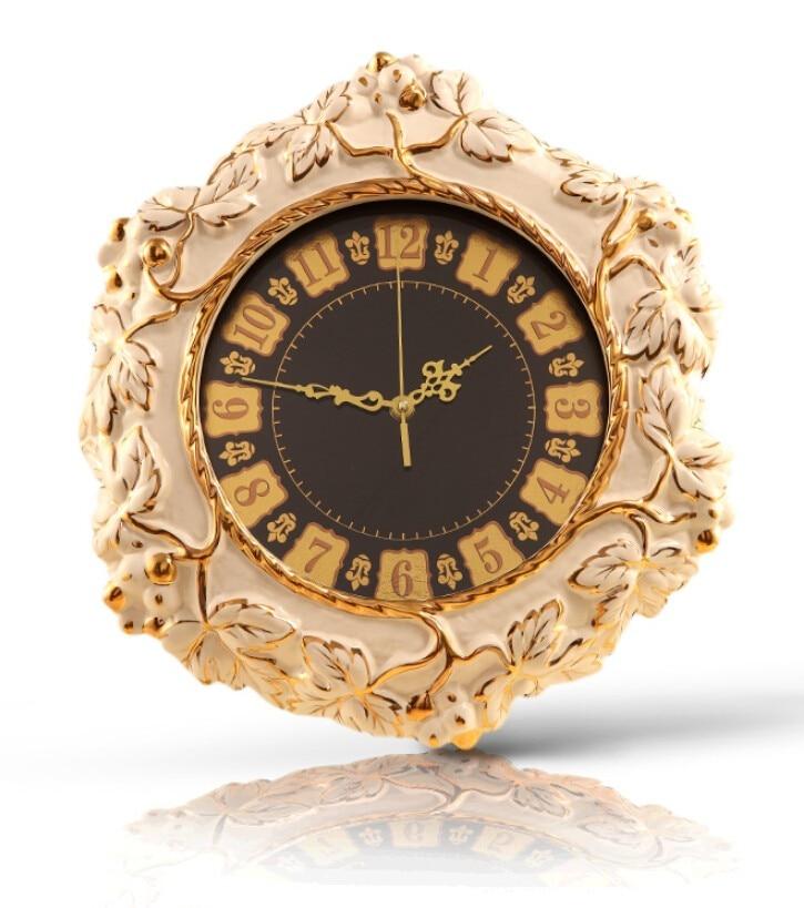 European-style luxury living room wall clock clock mute creative retro ceramic grape queen bedroom quartz watches