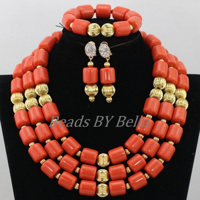 c945613026 US $63.8 |Traditional Nigerian Wedding Artificial Coral Beads Bridal  Jewelry Sets African Beads Jewelry Necklace Set Free Shipping ABF901-in  Jewelry ...