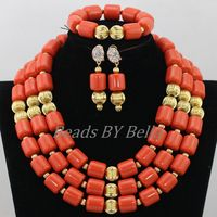 Traditional Nigerian Wedding Artificial Coral Beads Bridal Jewelry Sets African Beads Jewelry Necklace Set Free Shipping ABF901