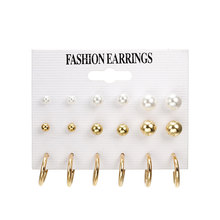 Hot Sale Gold Silver Round Ball Pearl Stud Earrings Set Korean Fashion Simple Cute Earrings for Women Oorbellen Brinco Bijoux(China)