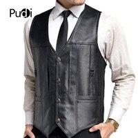 PUDI 2018 Men new fashion genuine sheep leather men's vest winter warm business casual outwear