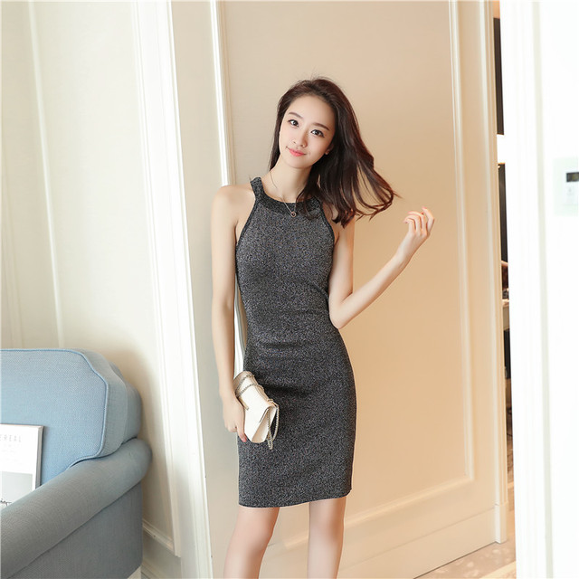 1a796ea0a59 Women One Step Dress Bodycon Slim Fit Thin Knitted Halter Crew Neck  Sleevless Vest Party Cocktail