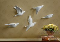 5pcs A Set European 3D Resin Bird Wall Stickers Home Furnishing Resin TV Background Wall