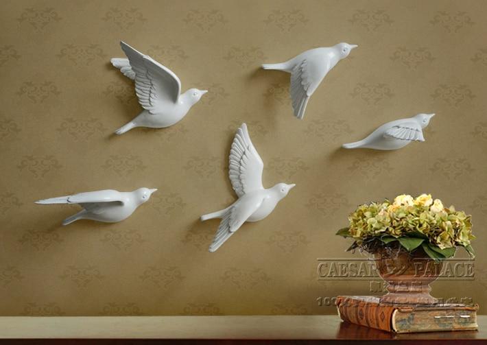 5pcs a set European 3D resin bird wall stickers Home