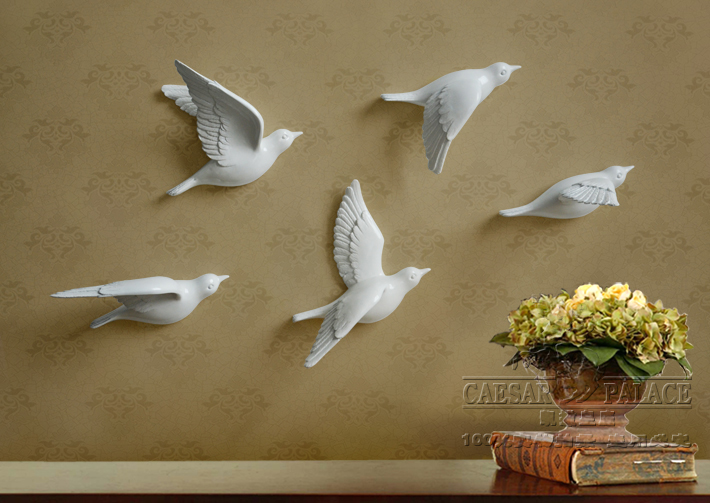 5pcs a set decorative 3D resin bird wall stickers Home Furnishing TV background wall decoration white gold birds stickers