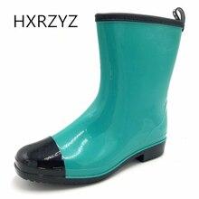 HXRZYZ женщин дождь сапоги большой размер весна / осень лодыжки сапоги новые моды женщин низкой каблук скольжения устойчивостью водонепроницаемые женские туфли
