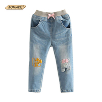 JOMAKE Girls Jeans 2017 Autumn Cartoon Bear Baby Girl Denim Trousers Cute Kids Pants Children Clothing