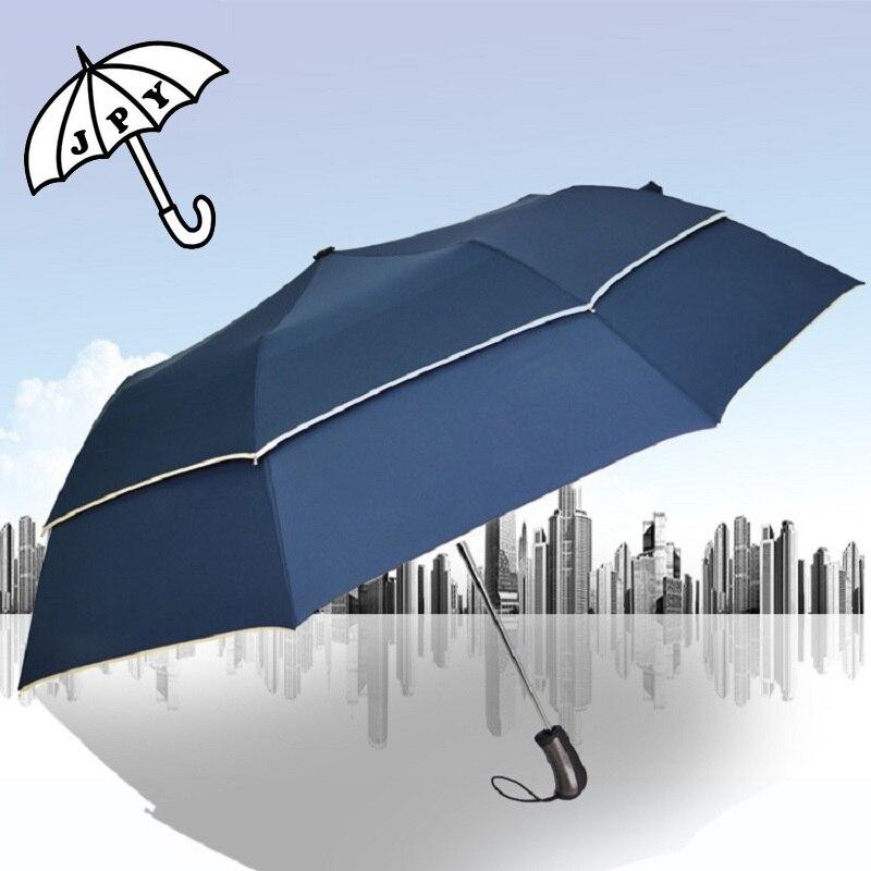 Nouveau Style Double coupe-vent pliant grand mode adultes affaires loisirs Parasol pour pluie ensoleillée UV Protection solaire parapluies masculins