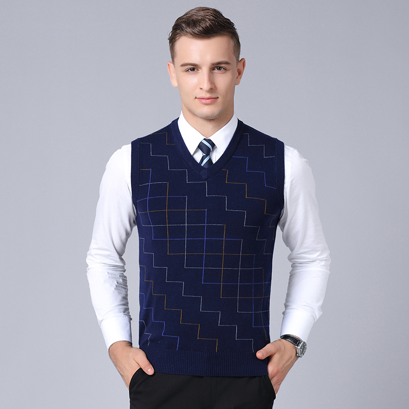 2019 New Fashion Brand Sweater Man Pullovers Plaid Slim Fit Jumpers Knitwear Sleeveless Winter Korean Style Casual Clothing Men Supplement The Vital Energy And Nourish Yin
