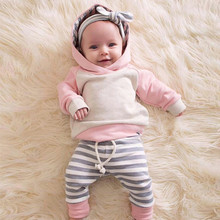 Newborn Baby Girl Clothes 2019 Autumn Baby Boy Long Sleeve Stripe Hooded Tops+ Pants 3Pcs Outfits Set For 3-24M