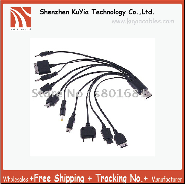 KUYiA Free Shipping+tracking number!! black Portable 10 in1 USB Cable Charging+Data For Cell Phone/usb power data cable