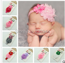 Children shabby flower headband with Pearl Rhinestone ribbon flower elastic  hair band 20pcs lot( 7d0db3a99f5e