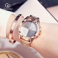 2017 새로운 GUOU 뜨거운 판매 유명 브랜드 스타일 로즈 골드 3ATM 고품질 석영 아날로그 손목 시계 손목 시계 여성 여자