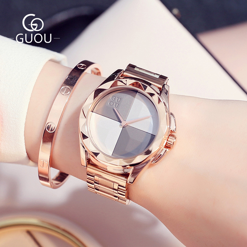 2018 New GUOU Hot Sale Famous Brand Style Rose Gold 3ATM High Quality Quartz Analog Wrist Watch Wristwatches for Women Girls 2017 new fashion guou crystal rose gold genuine leather quartz wrist watch wristwatches for women ladies girls black white